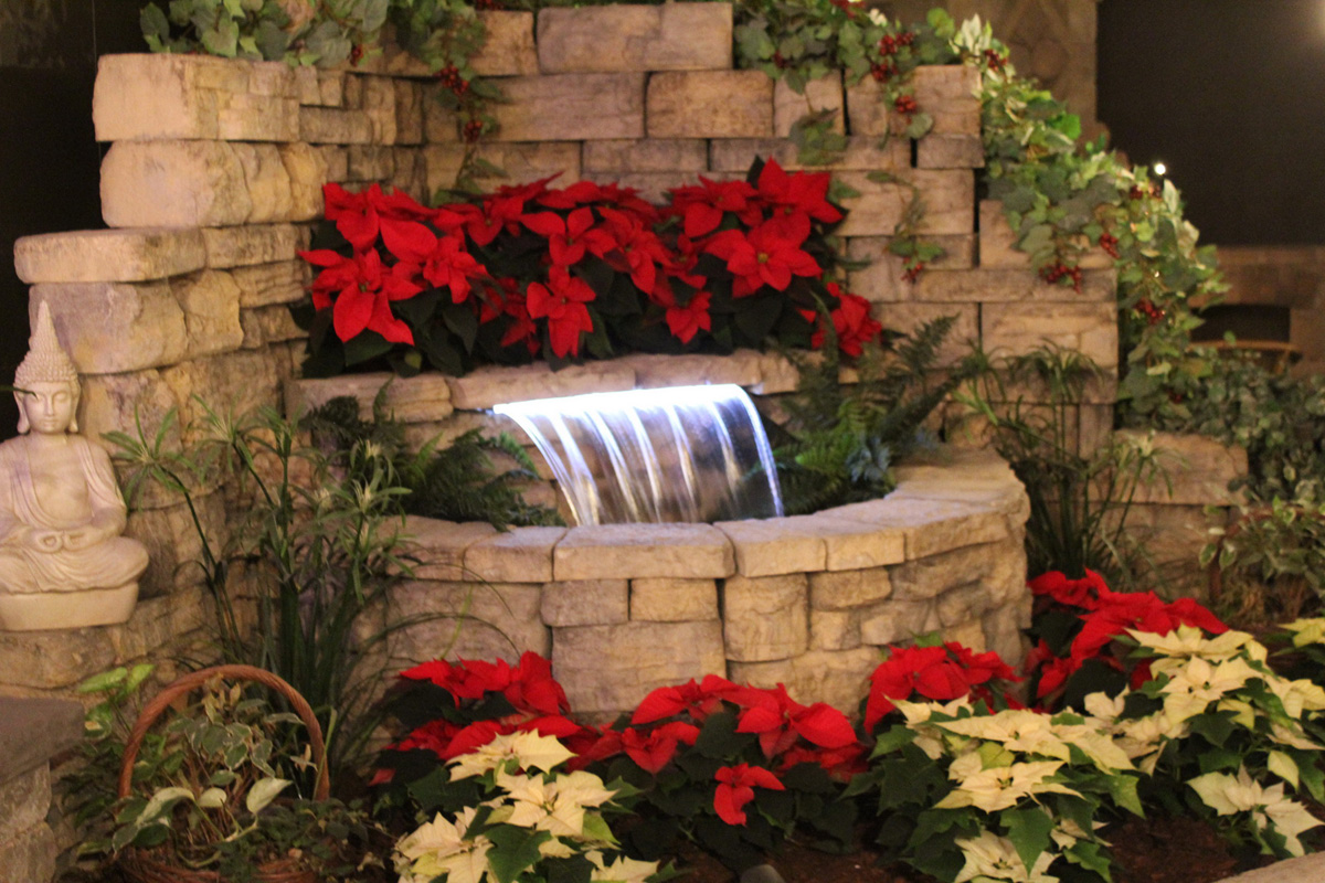 Belvedere Waterfall Display at Christmas
