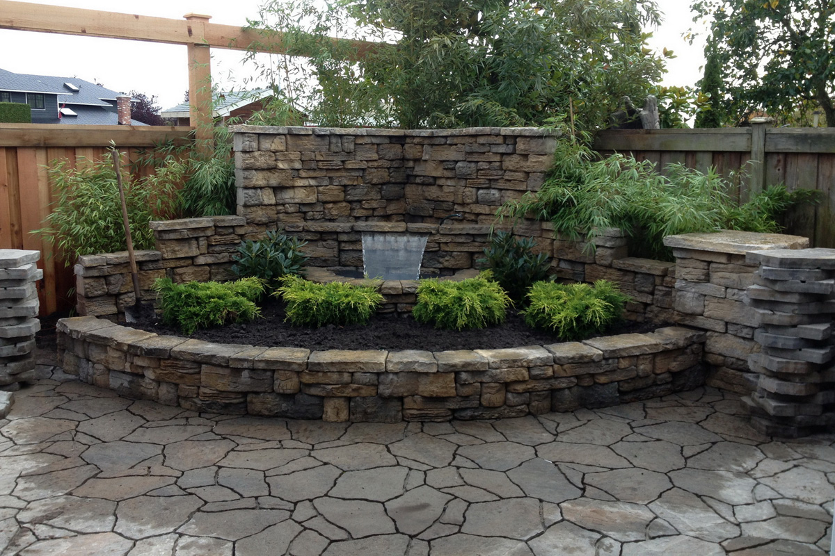 Belvedere waterfall feature with Mega Arbel Pavers